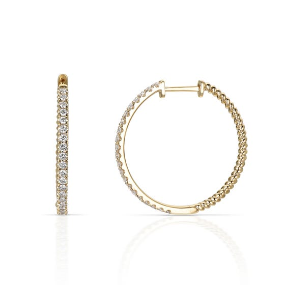 18ct Gold 0.50ct Diamond Large Hoop Earrings