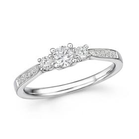 18ct White Gold 0.43ct Diamond Trilogy Ring