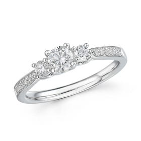18ct White Gold 0.62ct Diamond Trilogy Ring