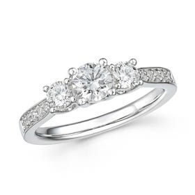 18ct White Gold 1ct Diamond Trilogy Ring