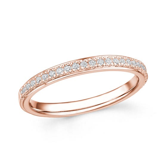 18ct Rose Gold 0.17ct Diamond Half Eternity Ring