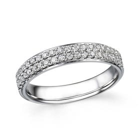 18ct White Gold 0.34ct Diamond Double Row Half Eternity Ring