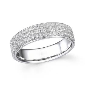 18ct White Gold 0.50ct Diamond Triple Row Half Eternity Ring