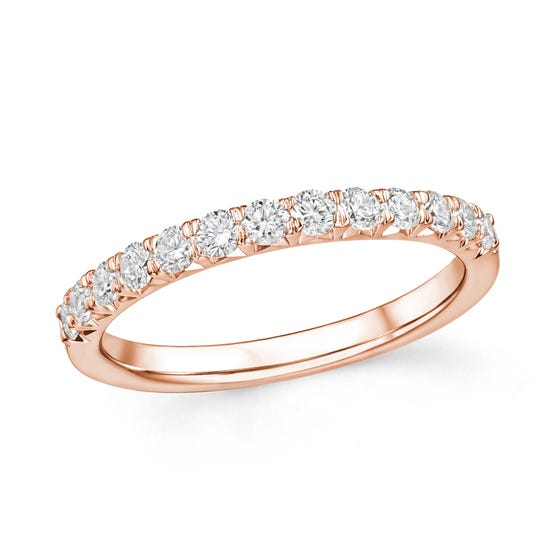 18ct Rose Gold 0.50ct Diamond Half Eternity Ring