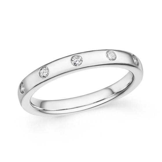 18ct White Gold 0.15ct Diamond Band Ring