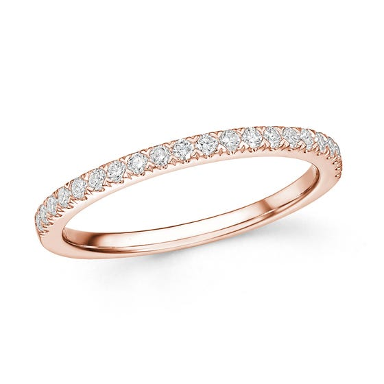 18ct Rose Gold 0.25ct Diamond Half Eternity Ring