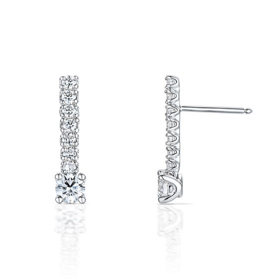 18ct White Gold 0.76ct Diamond Drop Earrings