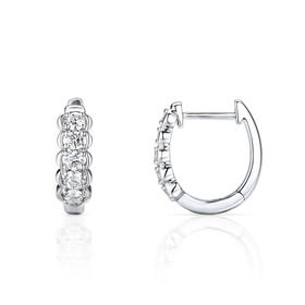 18ct White Gold 0.52ct Bezel Set Diamond Earrings