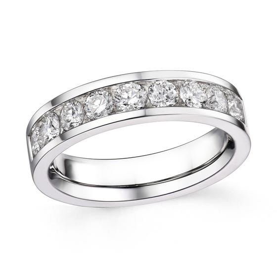 18ct White Gold 1.02ct Diamond Half Eternity Ring