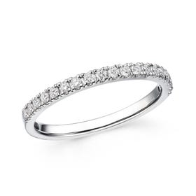 18ct White Gold 0.27ct French Set Diamond Half Eternity Ring