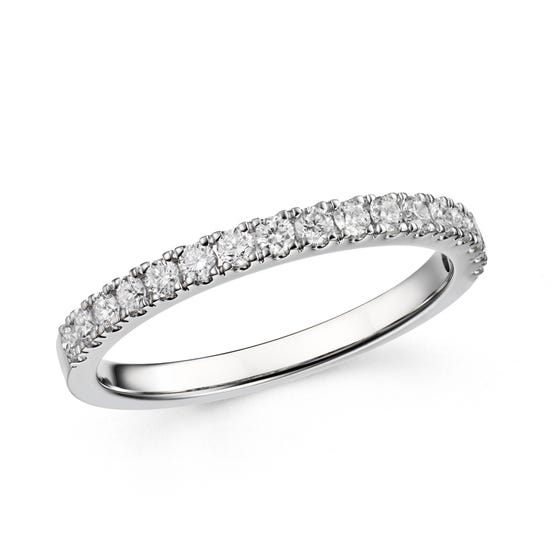 18ct White Gold 0.35ct Claw Set Diamond Half Eternity Ring