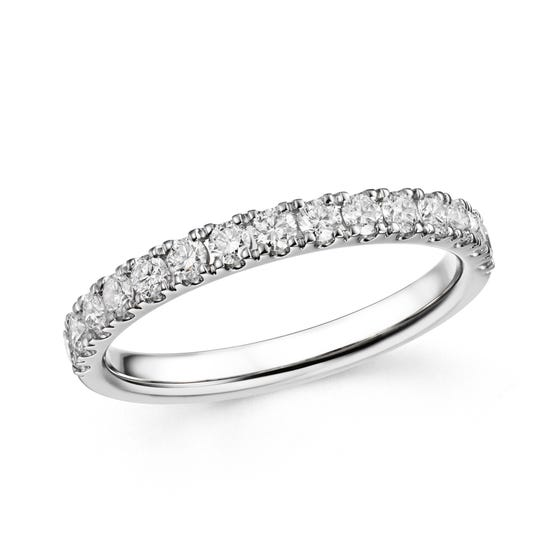 18ct White Gold 0.52ct French Set Diamond Half Eternity Ring