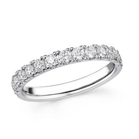 18ct White Gold 0.76ct Claw Set Diamond Half Eternity Ring