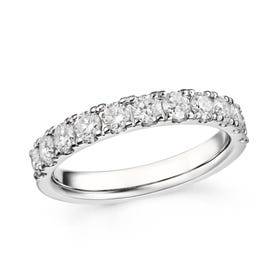 18ct White Gold 1.02ct Claw Set Diamond Half Eternity Ring
