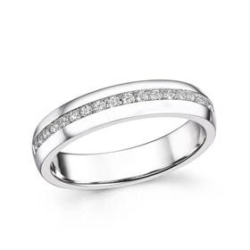 18ct White Gold 0.21ct Channel Set Diamond Half Eternity Ring
