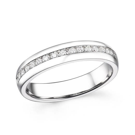 18ct White Gold 0.27ct Channel Set Diamond Half Eternity Ring