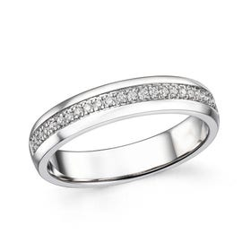 18ct White Gold 0.12ct Diamond Half Eternity Ring