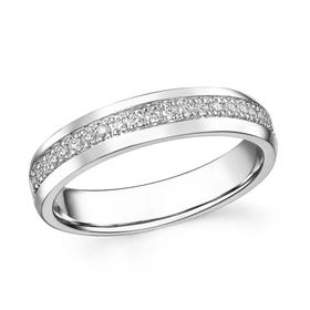 18ct White Gold 0.16ct Channel Set Diamond Half Eternity Ring