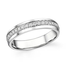 18ct White Gold 0.21ct Claw Set Diamond Half Eternity Ring