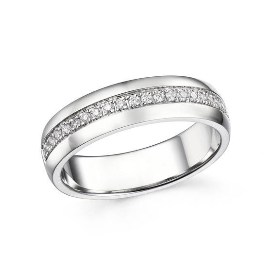 18ct White Gold 0.16ct Diamond Half Eternity Ring