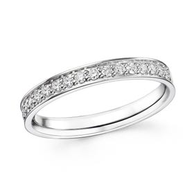 18ct White Gold 0.27ct Claw Set Diamond Half Eternity Ring