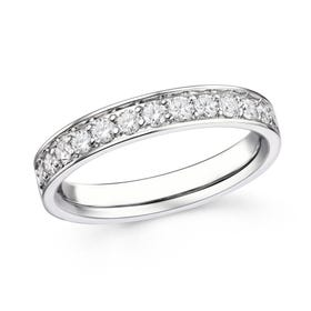 18ct White Gold 0.52ct Claw Set Diamond Half Eternity Ring