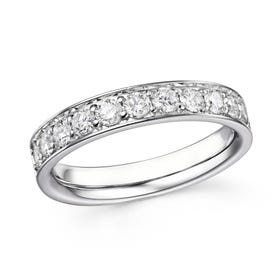 18ct White Gold 0.77ct Claw Set Diamond Half Eternity Ring