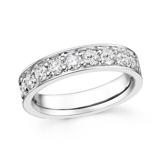 18ct White Gold 1.08ct Diamond Half Eternity Ring