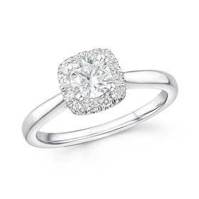18ct White Gold 0.70ct Diamond Halo Ring
