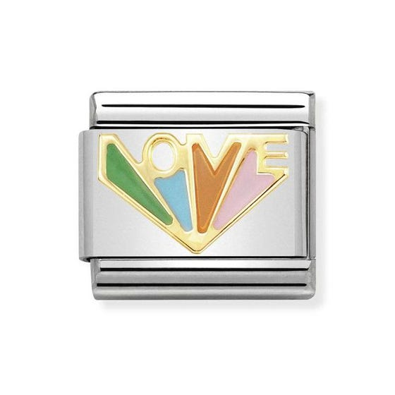 Classic 18ct Gold & Enamel Love Charm