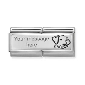 Double Classic Silver Engravable Dog Charm
