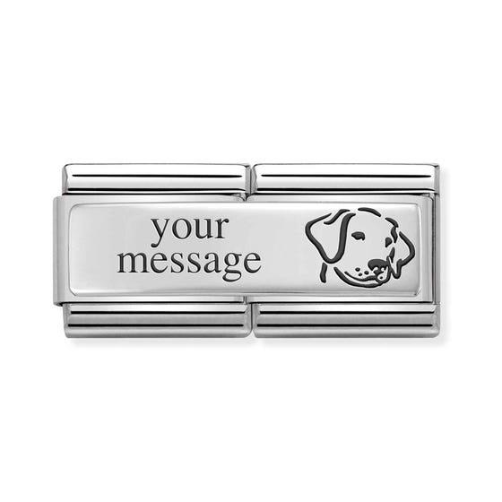 Double Classic Silver Engravable Dog Charm