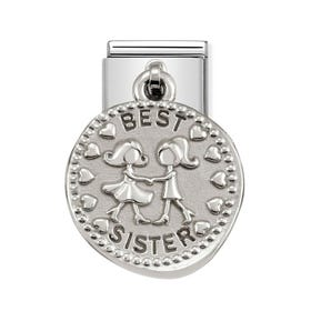 Classic Silver Best Sister Charm