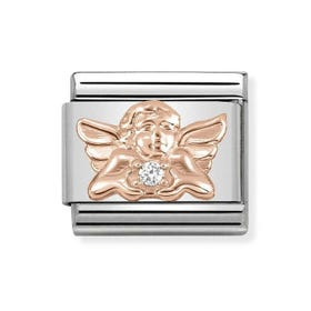 Classic 9ct Rose Gold Angel of Family Charm