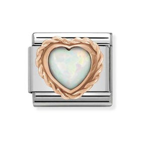Classic 9ct Rose Gold & White Opal Heart Charm