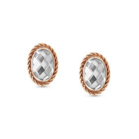 9ct Rose Gold White CZ Oval Stud Earrings