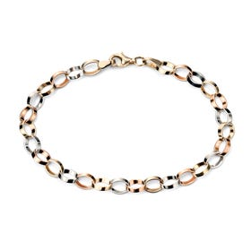 9ct Gold Tri-Colour Flat Link Bracelet