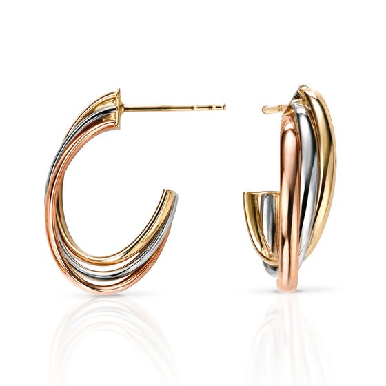 9ct Gold Tri-Colour Open Hoop Earrings