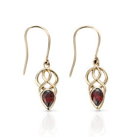 9ct Gold Garnet Celtic Style Earrings