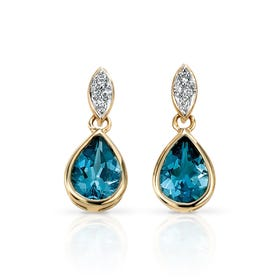 9ct Gold Blue Topaz & Diamond Drop Earrings