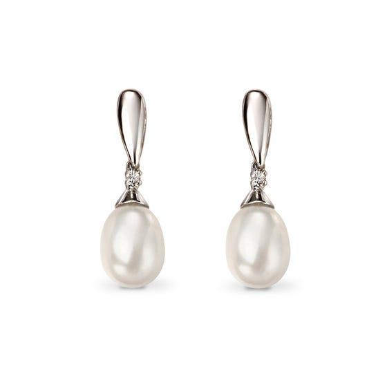 9ct White Gold Pearl & Diamond Drop Earrings