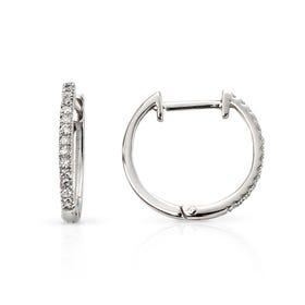 9ct White Gold Diamond Huggie Earrings