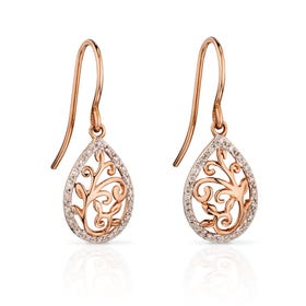 9ct Rose Gold Diamond Baroque Drop Earrings