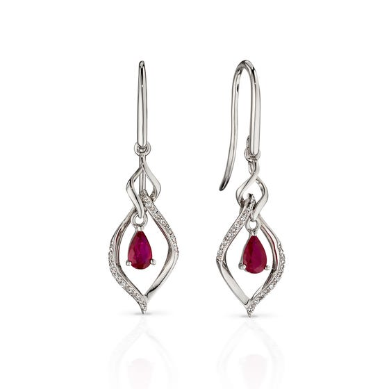 9ct White Gold Ruby & Diamond Open Marquise Earrings