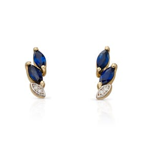 9ct Gold Sapphire & Diamond Marquise Stud Earrings
