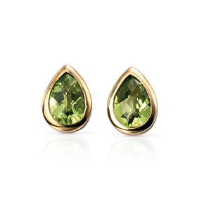 9ct Gold Peridot Teardrop Stud Earrings