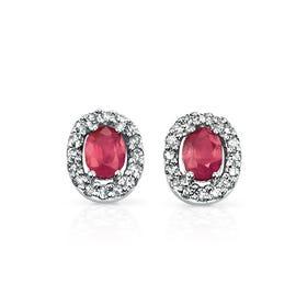 9ct White Gold Ruby & Diamond Oval Stud Earrings