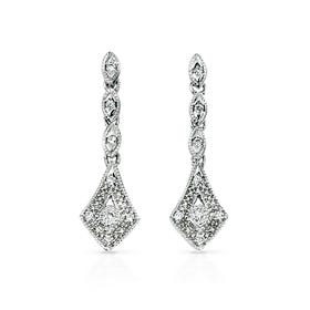 9ct White Gold Diamond Vintage Drop Earrings