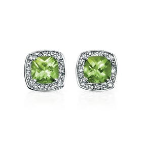 9ct White Gold Peridot & Diamond Stud Earrings