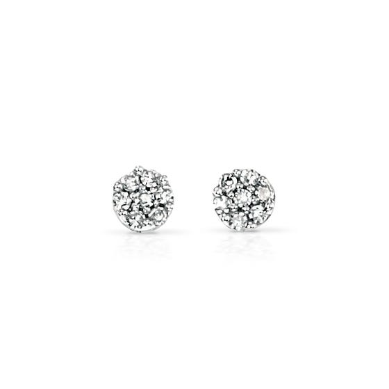 9ct White Gold Diamond Round Stud Earrings